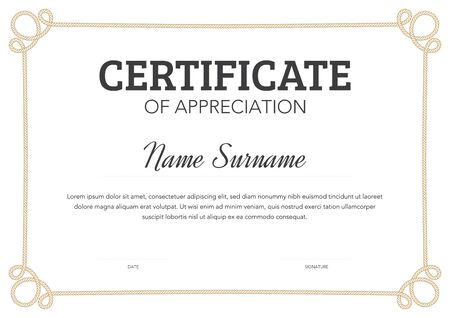 Horizontal format certificate template in classical style with rope ornamental frame Ilustração