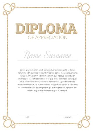 Vertical format certificate template in classical style with rope ornamental frame Ilustração