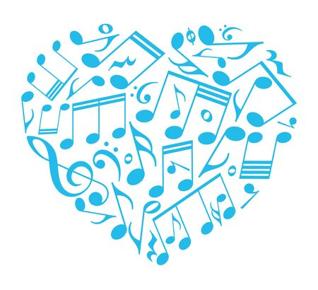 Vector isolated blue heart created from music notes icon. Isolated on white background