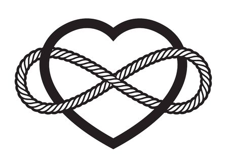 Vector tattoo symbol of never ending love. Isolated on white background.  イラスト・ベクター素材