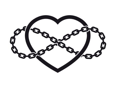 Vector tattoo symbol of never ending love with chain. Isolated on white background.  イラスト・ベクター素材