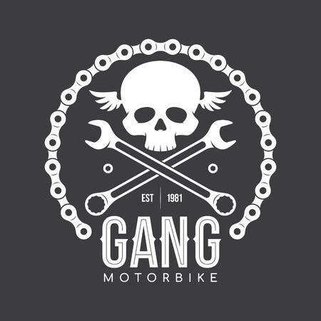 Vector white vintage biker emblem - tattoo with skull, chain, ...