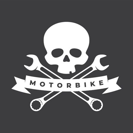 Vector white vintage biker emblem - tattoo with skull and ribbon.  イラスト・ベクター素材
