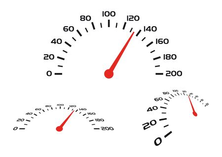 Vector image of the speedometer. Isolated on white background. Vector Illustratie