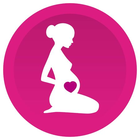 Vector silhouette sitting of pregnant woman with heart on pink circle background. Isolated on white background Vettoriali