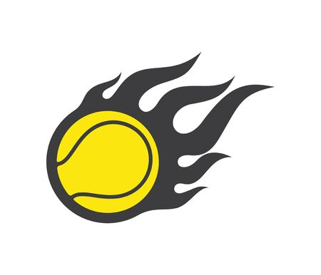 Vector simple flying tennis ball wit fire on orange background