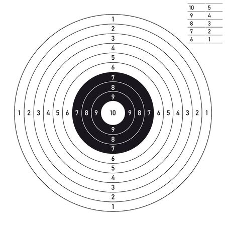 Vector paper black line target for shooting practice. Isolated on white background.