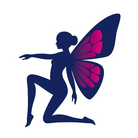 Vector blue silhouette cute kneeling fairy woman with butterfly wings. Isolated on white background Vektorgrafik