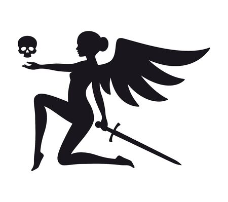Vector black silhouette of cute angel of death. Isolated on white background
