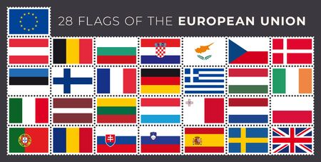 Vector 28 flags of the European Union. White stamp marks.
