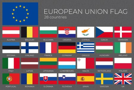 Vector 28 flags of the European Union with names.