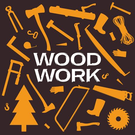 Vector backround with woodwork tools set