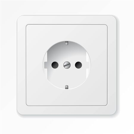 Realistic vector white socket. isolated on white background.