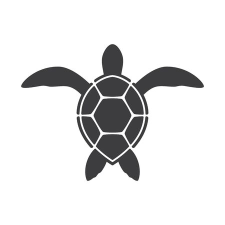 Vector silhouette of small sea turtle. Isolated on white background Ilustración de vector