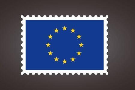 Vector letter stamp flag of EU. Flag of Europe. Flag of the European Union.