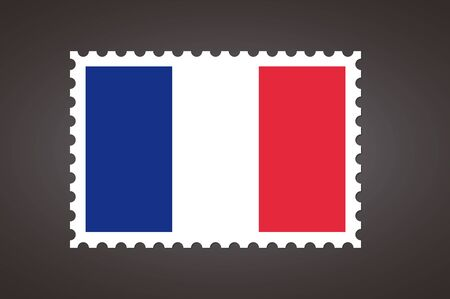 Vector letter stamp flag of FR. Flag of France. Ilustração