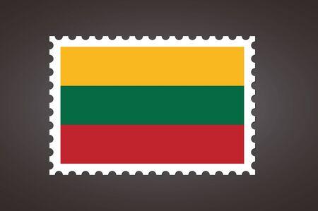 Vector letter stamp flag of LT. Flag of Lithuania.