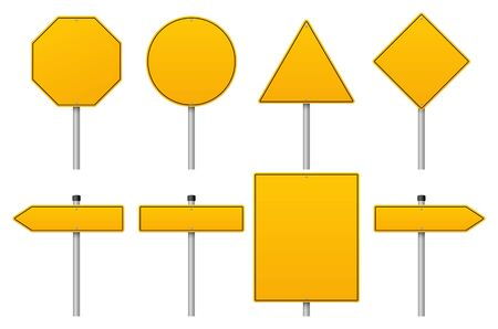 Vector yellow road sign set on white background
