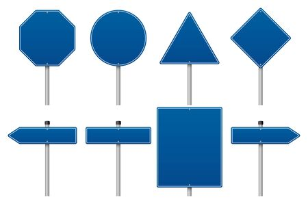 Vector blue road sign set on white background