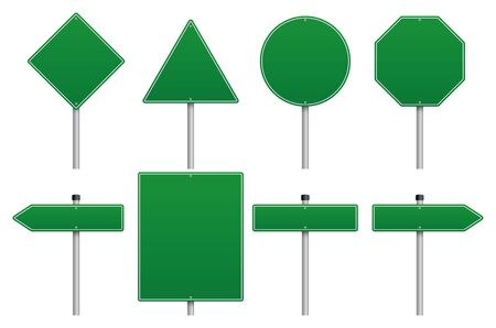 Vector green road sign set on White Background