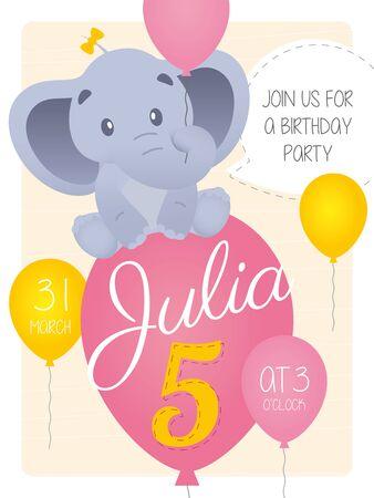 Vector 5th birthday party invitation card with cartoon elephant animal and birthday name Julia Иллюстрация