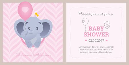 Vector template baby shower invitation card with animal cartoon little elephant. Pink background with texture and sample text.