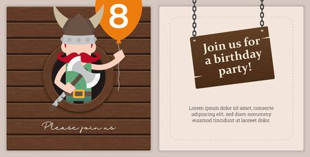 Vector print template birthday party invitation card. On a little viking theme. 8th birthday of Peter.