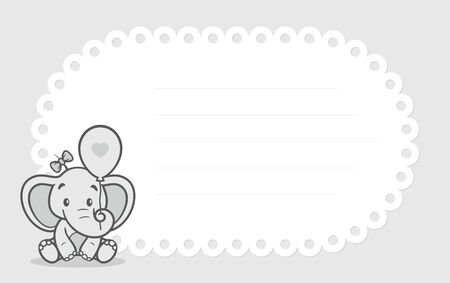 Vector template, baby invitation card with cartoon little elephant. Gray background.