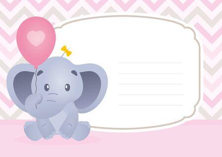 Vector baby invitation card with cartoon elephant animal.