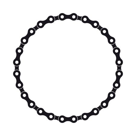 Vector black circle created from bike chain. Isolated on white background.