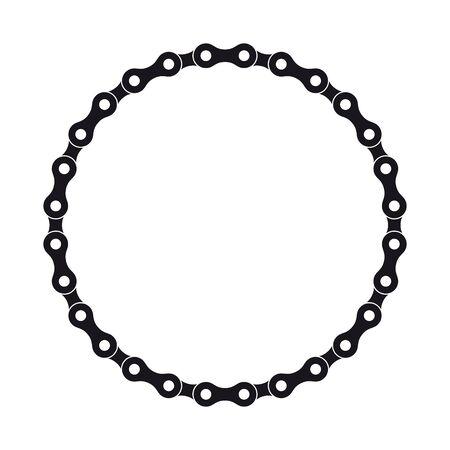 Vektor schwarzer Kreis aus Fahrradkette erstellt. Isoliert auf weißem Hintergrund.