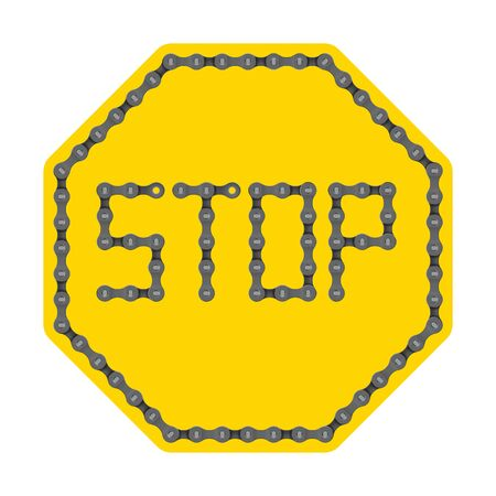 Vector yellow sign stop from realistic bike chain. Isolated on white background. Ilustração