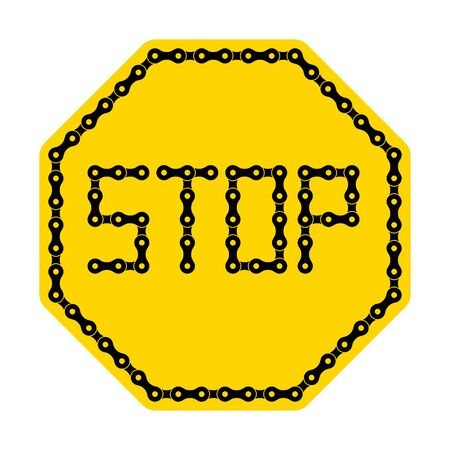 Vector yellow sign stop from black bike chain. Isolated on white background.