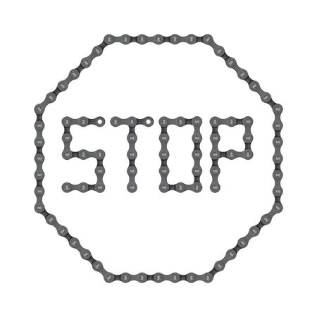 Vector sign stop from realistic bike chain. Isolated on white background.