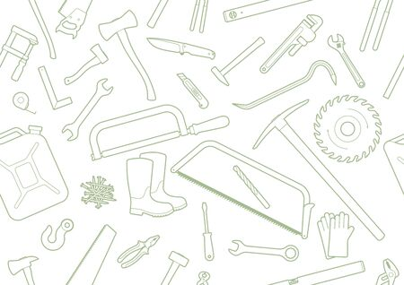 Seamless texture working tools. Isolated on a white background. Ilustração