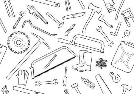 Seamless line texture working tools. Isolated on a white background. Ilustração