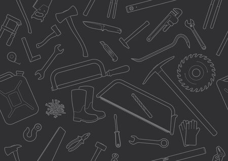 Seamless texture working tools. Black background. Ilustração