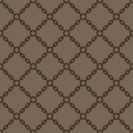 Seamless geometric texture chain on brown background.