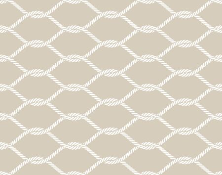 Vector rope, fishing net, seamless. Cream color background.