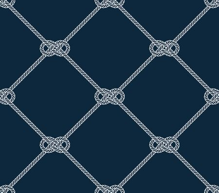 Vector rope, fishing net, seamless. Blue background.
