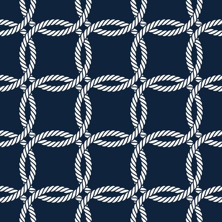 Vector ropes, circle net, seamless. Blue background