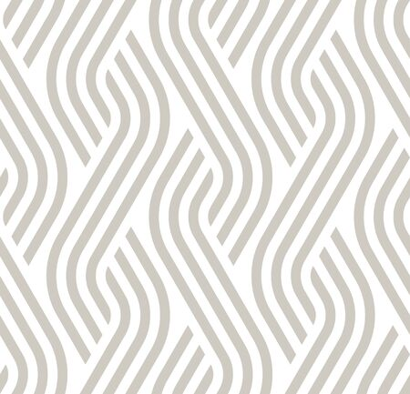 Vector geometric diagonal fabric waves seamless texture. Cream color background.