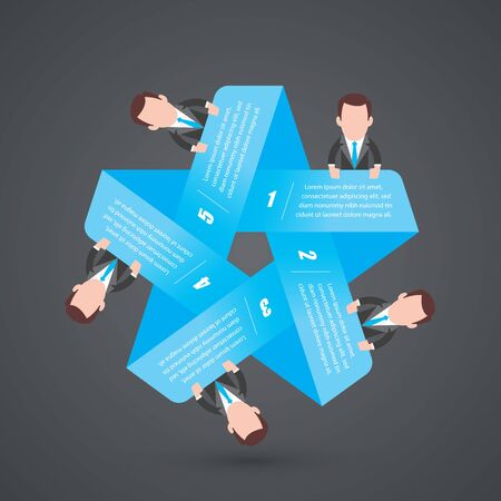 Vector infographic blue star with five cartoon characters of business people. Gray background.