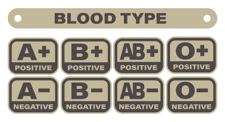 Vector blood group Icon. Blood type - army style. Isolated on white background.