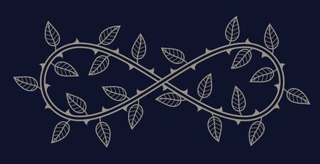 Vector symbol of endless love. Roses with thorns and leaves. Blue background.