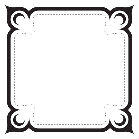 Vector black ornate frame with thorns and dashed line. White background. Square size.