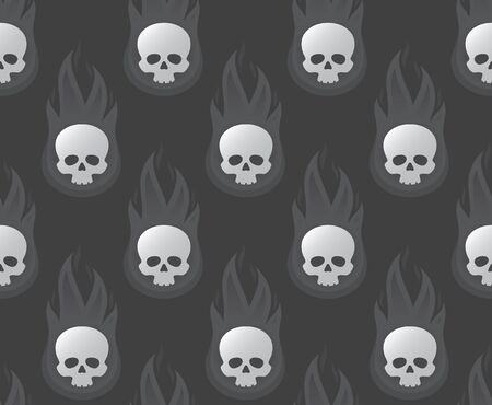 Vector seamless texture of a burning skull against a gray background. Illustration
