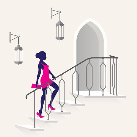 Vector beautiful young woman goes up the stairs with a railing. Exotic doors and hanging paws