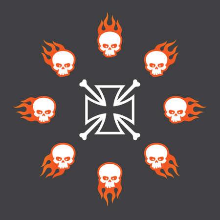 Vector symbol set circle burning skulls with crossbones for motorbike gang. Isolated on the dark background.