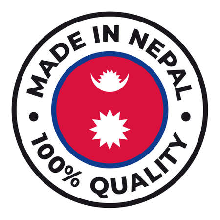 Vector circle symbol. Text Made in Nepal with flag. Isolated on white background.